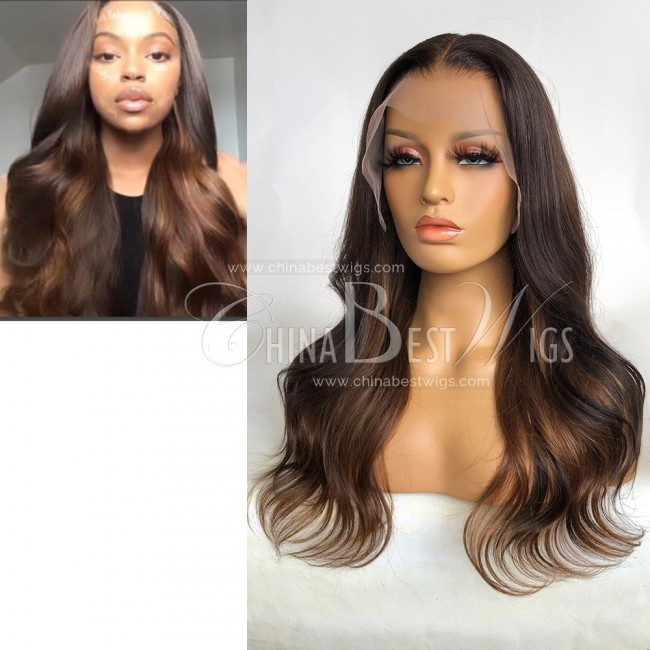 N190 Wavy18 Inch Indian Virgin Hair Ombre Color T Frontal Wigs