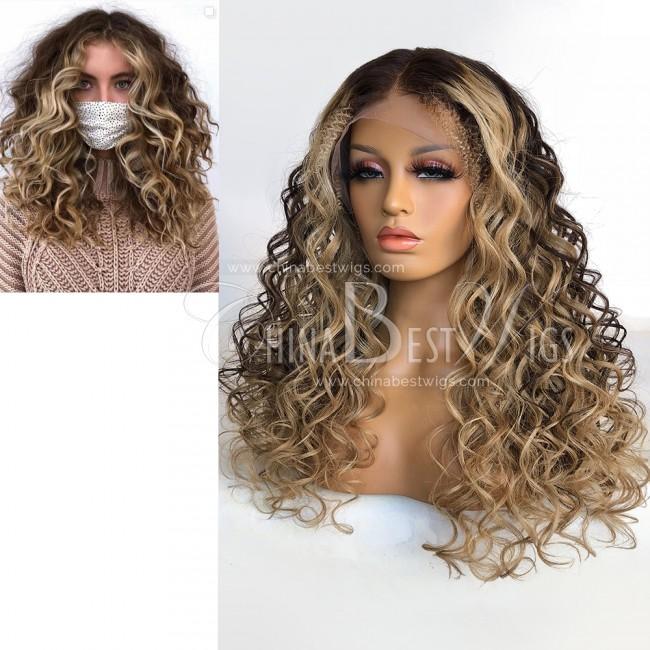 HWS-328 150% Density 22 Inch Brazilian Virgin Hair Ombre Color T Frontal Wigs