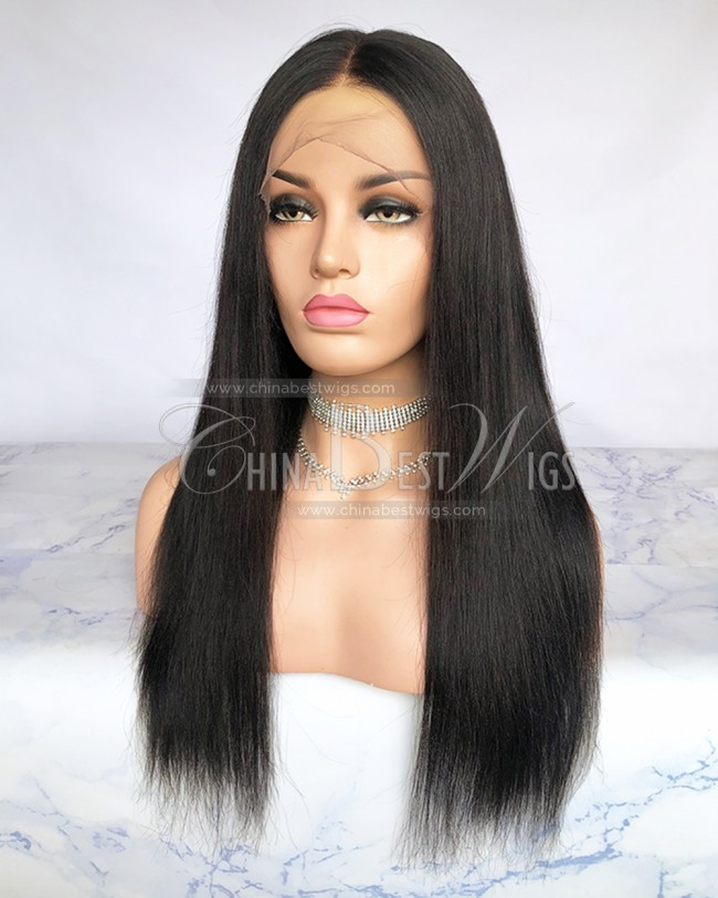 HWS-217 Indian Virgin Hair 18 inch Yaki 360 Lace Front Wigs