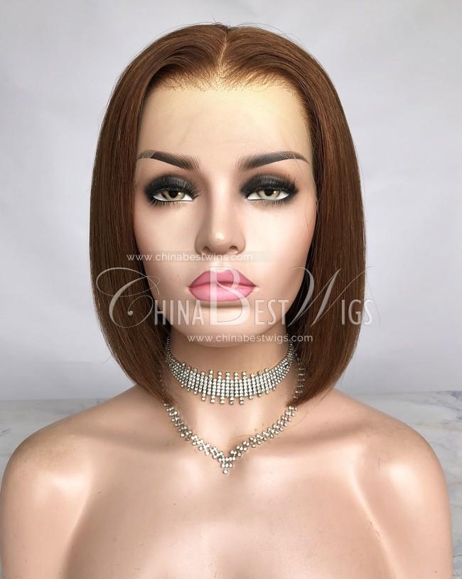 HWS-292 Virgin Brazilian Hair Bob Straight 10 Inch 150%  Glueless Lace Front Wigs
