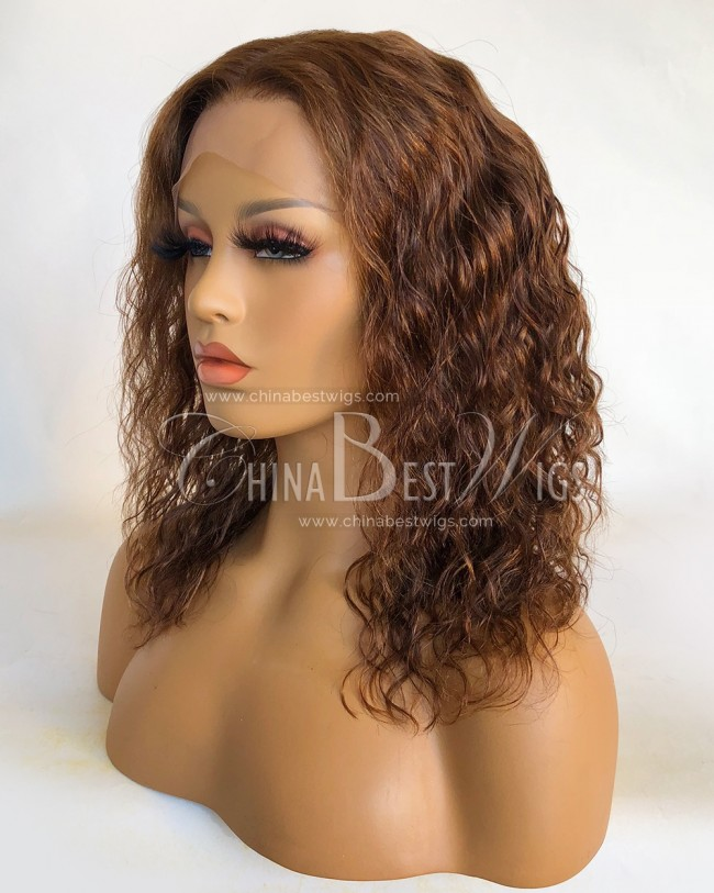 HWS-321 10Inch Indian Virgin Hair Natural Hairline Lace Front Wigs