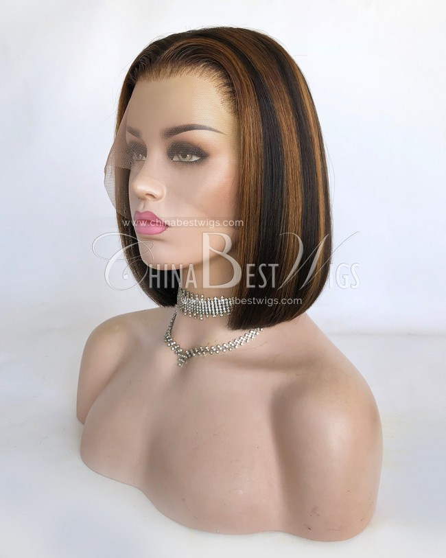 N155 Indian virgin hair 10 Inch Long Bob Straight Glueelss Lace Front Wigs