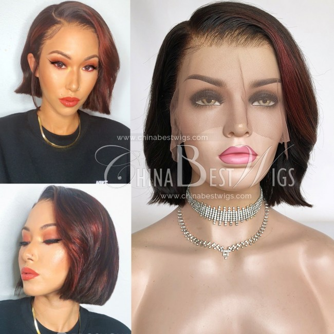 N161  Indian Virgin Hair Bob Style 150% Density Lace Front Wigs