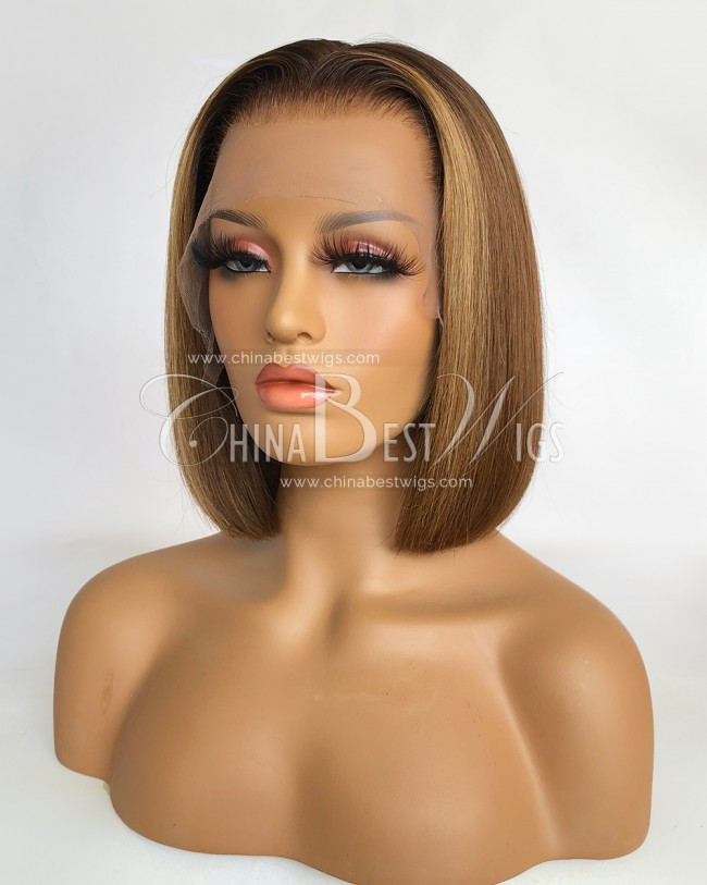 N175-2  Bob Straight 150% Density 10 Inch Glueless Lace Front Wigs