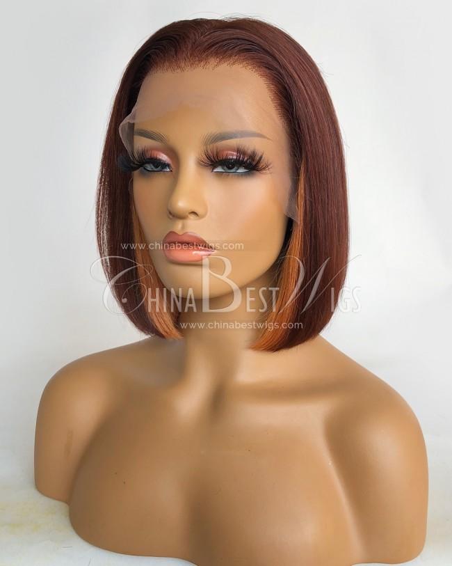 N186  150% Density 10 Inch Bob Brazilian Virgin Hair Lace Wigs