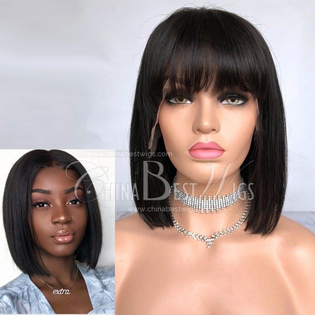 HWS-202  10'' Bob  Bang in Front Indian Virgin Hair Glueless Lace Front Wigs