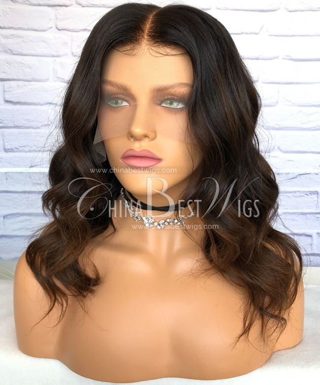 HWS-182 12 inch Ombre Color Wavy Glueless Lace Front Wigs
