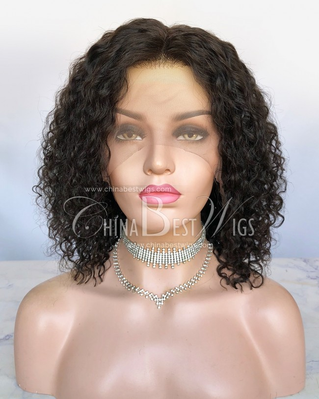 HWS-295  12'' Bob Curly Virgin Human Hair Glueless Lace Front Wigs
