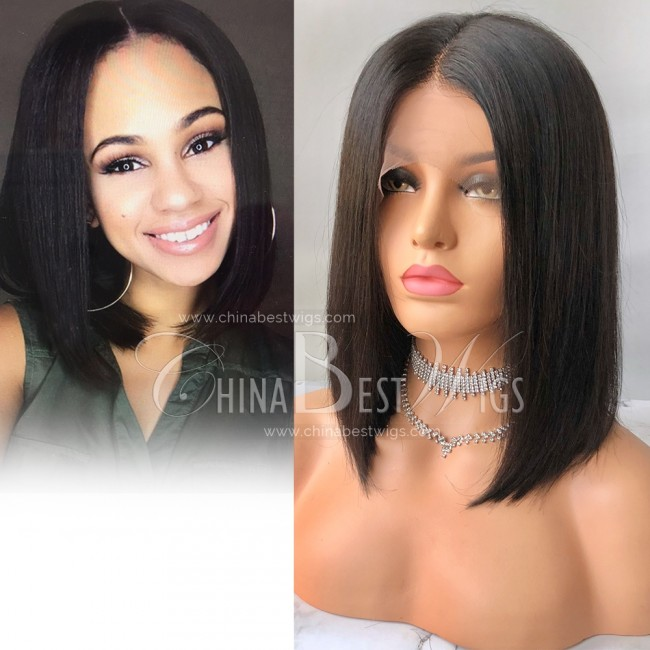 N82 Bob Cut Indian Virgin Hair 12 inch Natural Color Celebrity Wigs