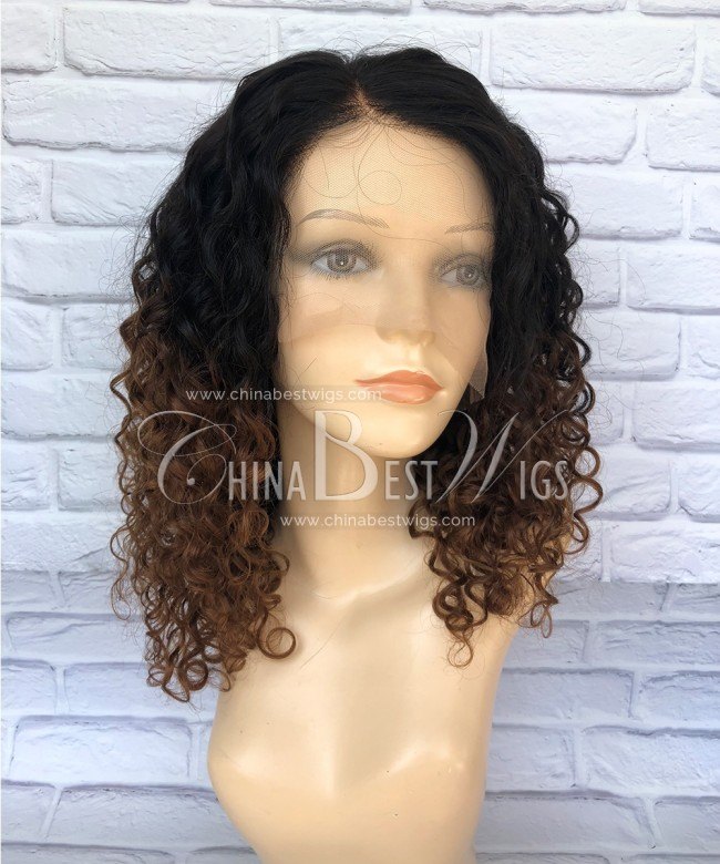HWS-172 14 inch Ombre Short Curly Wholesale Human Hair Wigs