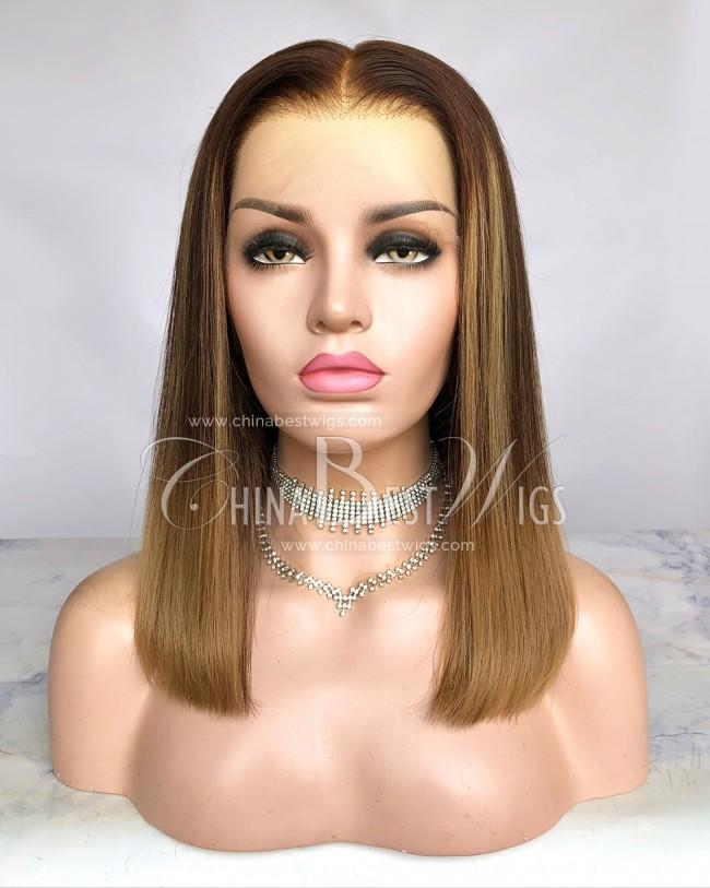 HWS-300 14 Inch Bob Straight Highlight Color Brazilian Virgin Hair Glueless Wigs