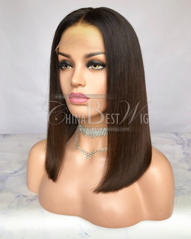 HWS-260 Virgin Hair Tnatural color/#4 Bob Straight 14 Inch Lace Front Wigs