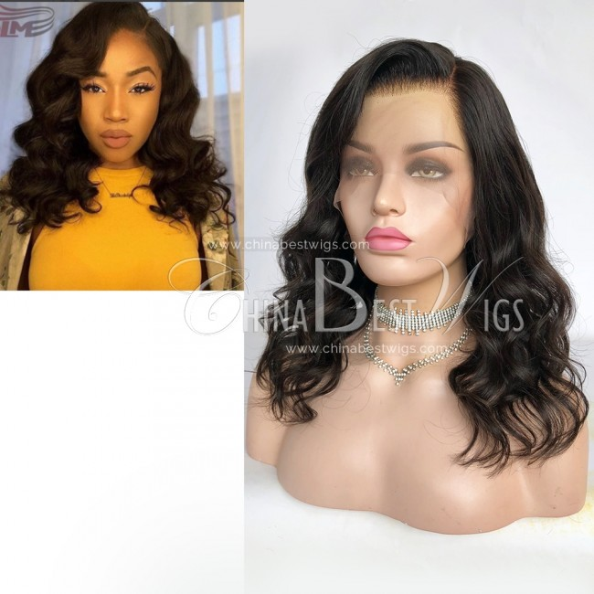 HWS-308 14 Inch Wavy Natural Color Side Parting Glueless Lace Front Wigs
