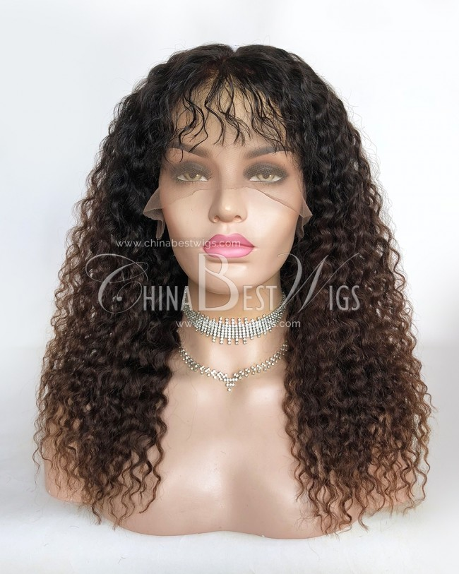 HWS-309 16Inch Ombre Color Brazilian Virgin Hair Curly Glueless Full Lace Wigs