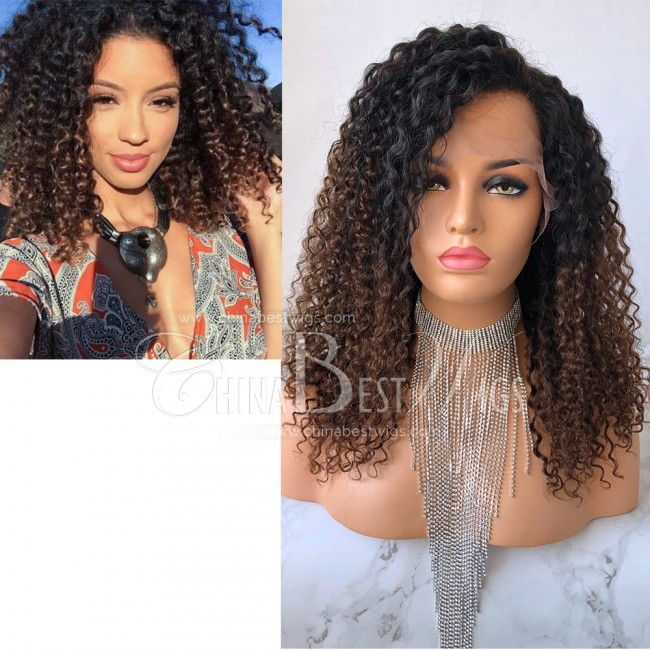 N72  Brazilian Virgin Hair Heavy Density Curly 16'' Celebrity Glueless Wigs