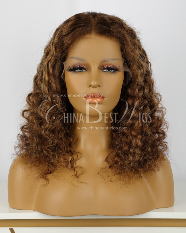 HWS-360  Virgin Hair 16 Inch Deep Body Wave Glueless Lace Front Wigs