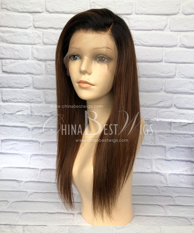 HWS-167 Silky Straight Ombre Color Brazilian Virgin Hair Lace Front Wigs Factory