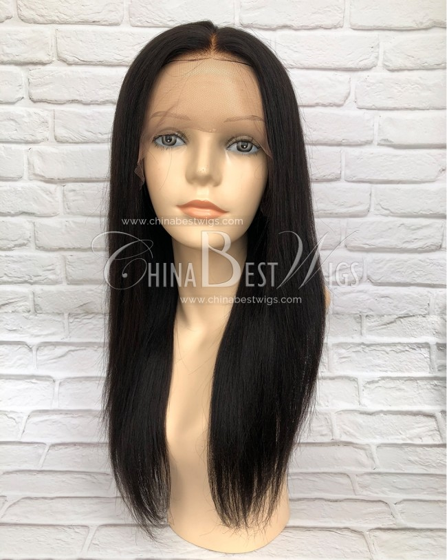 HWS-152  Indian Hair Yaki Straight Natural Hairline Glueless Lace Front Wig
