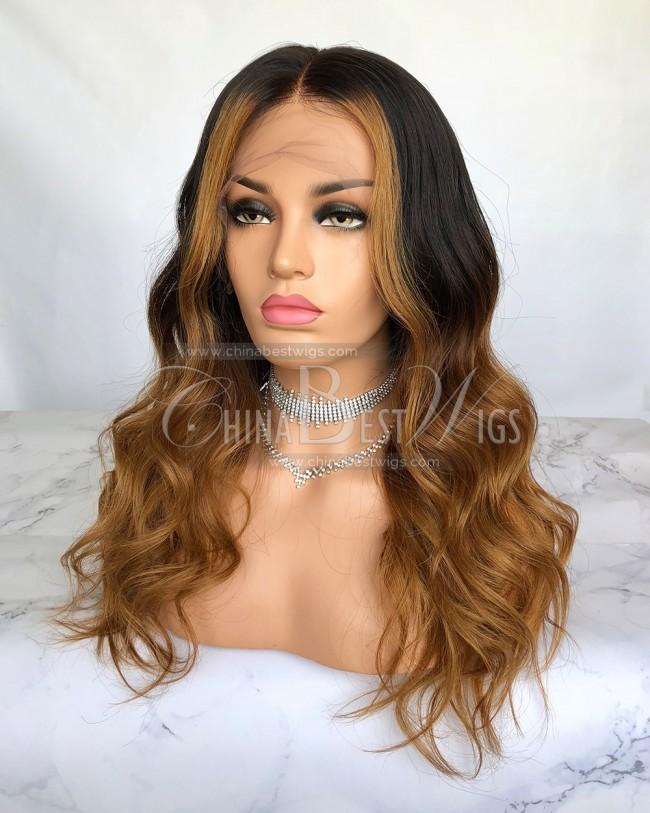 HWS-199 18 inch  130% density ombre Color  Brazilian virgin hair wavy wigs