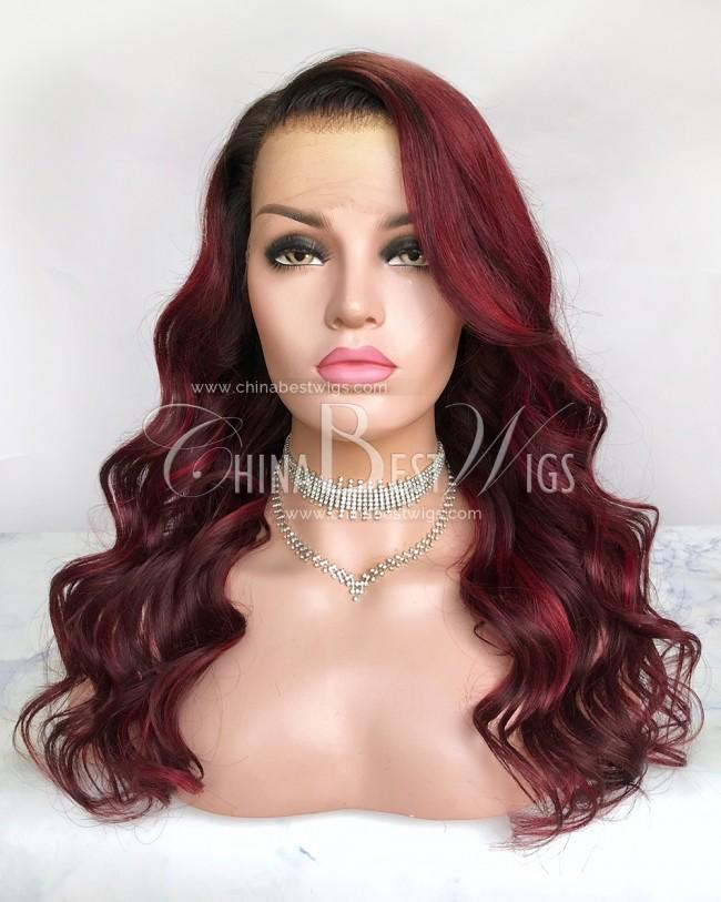 HWS-306 Ombre Wavy 20 Inch Virgin Brazilian Hair Lace Front Wigs