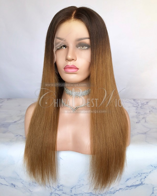 HWS-264 Brazilian Virgin Hair 18 Inch T4/27A Straight Lace Wigs