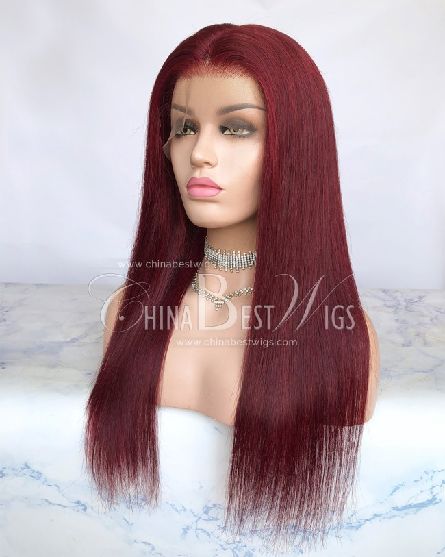 HWS-290 Virgin Human Hair 99J 18 Inch Glueless Full Lace Wigs