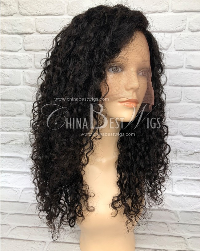 HWS-149 silk top Glueless full lace wig natural hairline Brazilian hair Curly Style