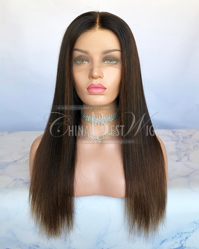 HWS-222 Ombre color Virgin Human Hair Silky Straight Lace Front Wigs Manufacturer