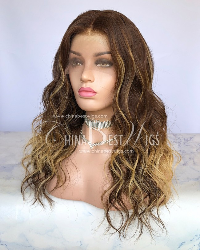HWS-287  18 Inch 130% Density  Highlight Color Wavy Virgin Brazilian Hair Wigs Maunfacturer