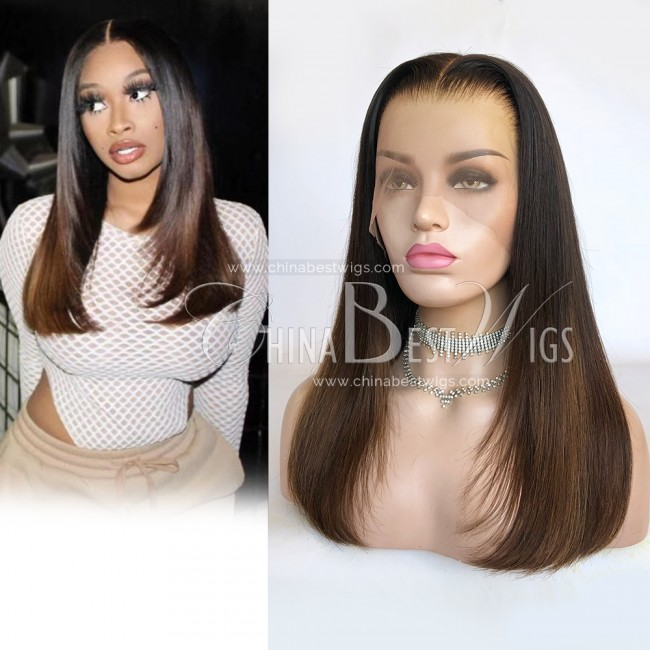 N147 180% Density Straight Ombre 18 Inch Indian Hair Glueless Lace Front Wigs