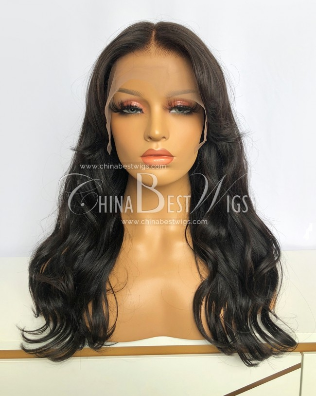 N210 18 Inch Natural Color Indian Virgin Hair Lace Front Wigs