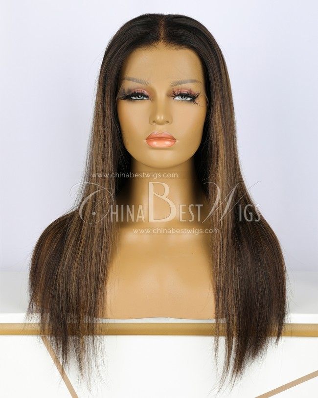 N63-1 18 inch 150% Brazilian Virgin Hair Straighten Lace Front Wig
