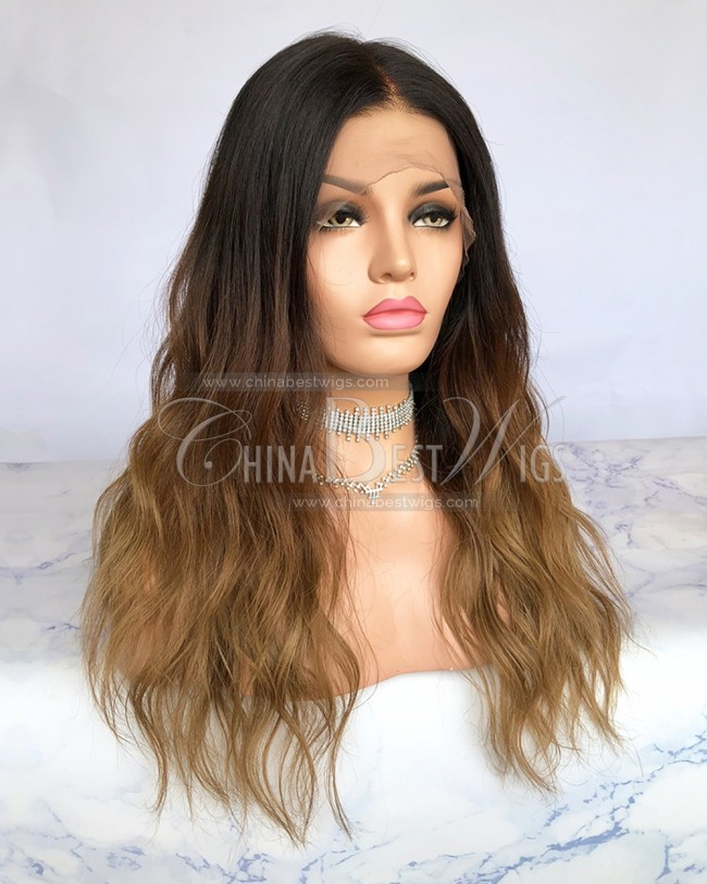 N71 Ombre wavy 18 inch Celebrity Style Lace Front Wigs Factory