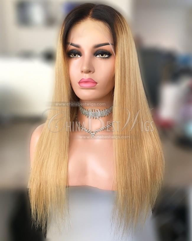 HWS-266  Tnatural color/27#  Virgin Human Hair Glueless Lace Front Wigs