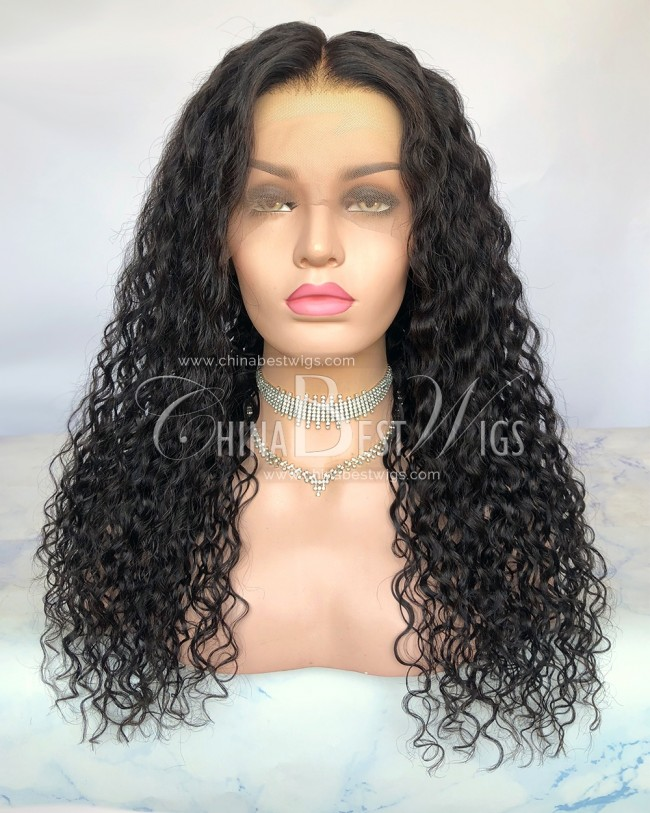 HWS-301 20 Inch Natural Hairline  Bleach Knots Natural Color Curl Glueless Full Lace Wigs