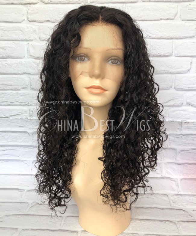 HWS-161 Natural Hairline 15mm curly medium density Glueless Full Lace Wigs