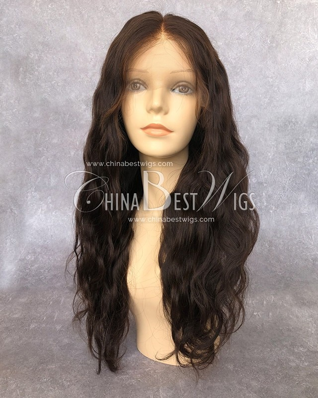 HWS-147 wholesale glueless lace front wig dark golden brown body wavy Brazilian hair