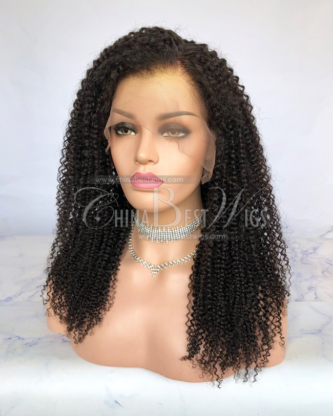HWS-241 Afro Curly 20 Inch Virgin Human Hair Lace Front Wigs