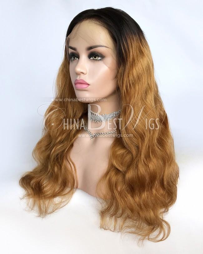 HWS-307 Body Wavy Ombre Color Brazilian Virgin Hair Glueless Full Lace Wigs