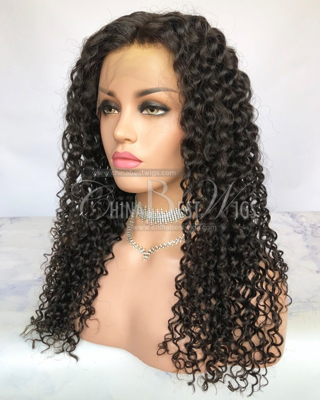 HWS-257 Spring Curl 20 Inch Natural Color Glueless Lace Front Wigs
