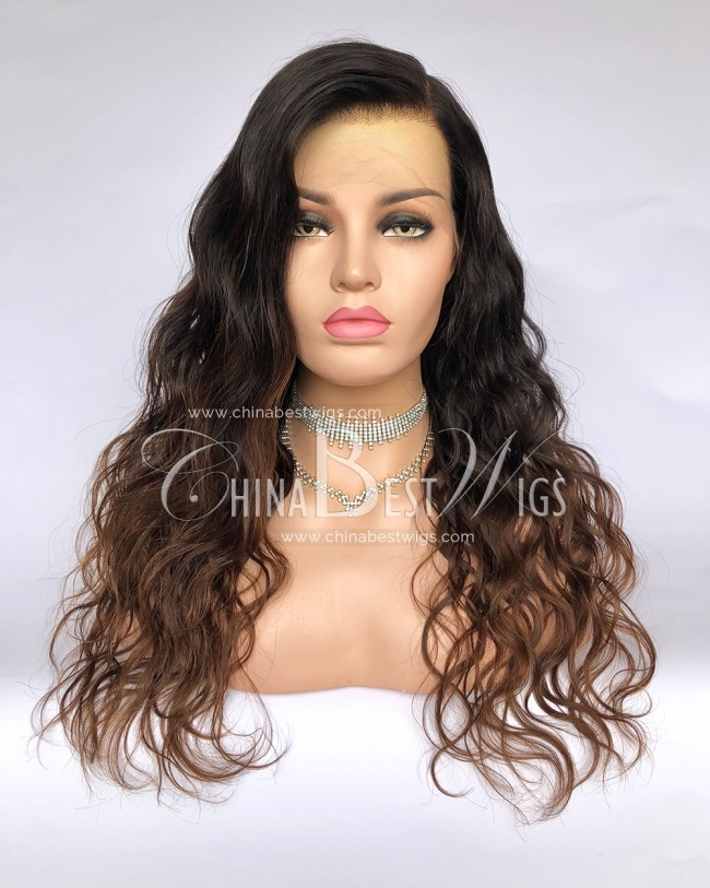 HWS-284 Ombre Color Natural Wavy Indian Virgin Hair Glueless Lace Front Wigs