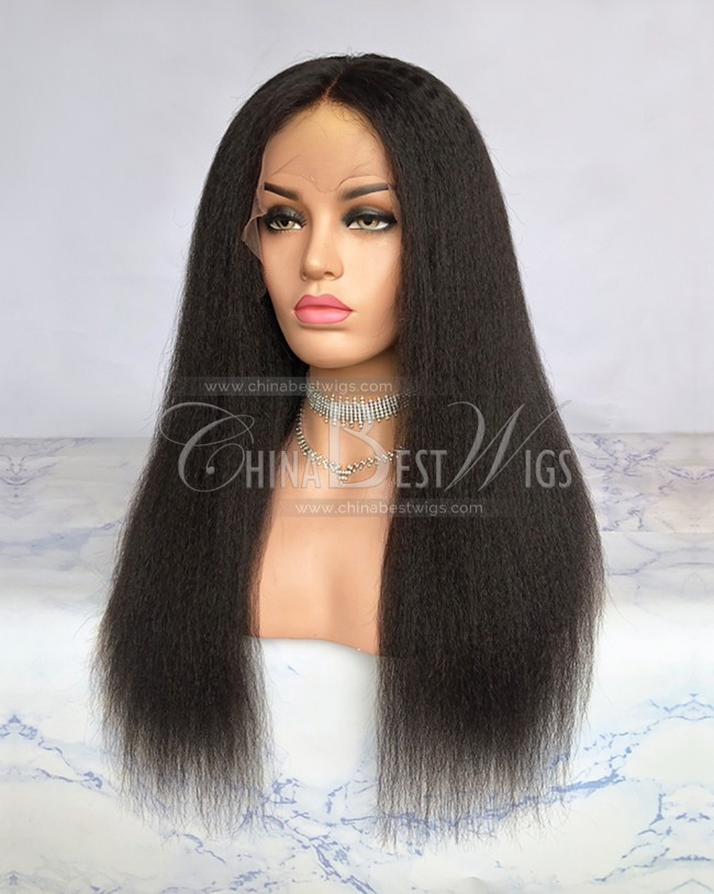 HWS-228 Natural Color Indian Hair 20 Inch Kinky Straight Lace Front Wigs