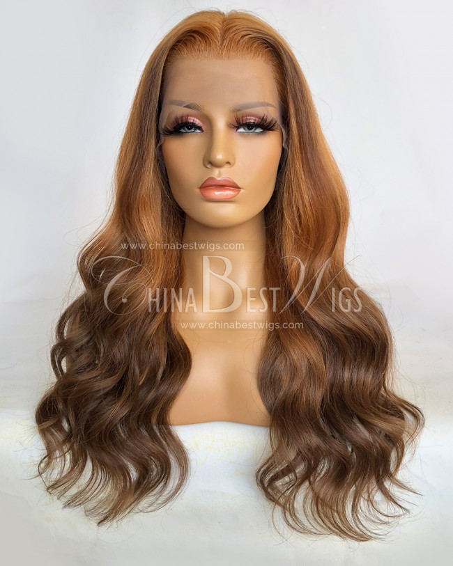 N183 20 Inch 180% Density 100% n Human Hair Ombre Wavy Lace Front Wigs