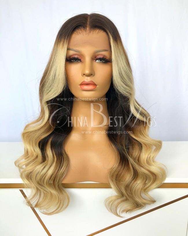 N201 Ombre Blonde 150% Denisty 20 Inch Virgin Brazilian Hair Wavy Lace Front Wigs