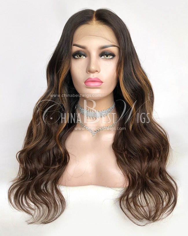 HWS-310  Wavy 20Inch Virgin Brazilian Hair Glueless Lace Front Wigs