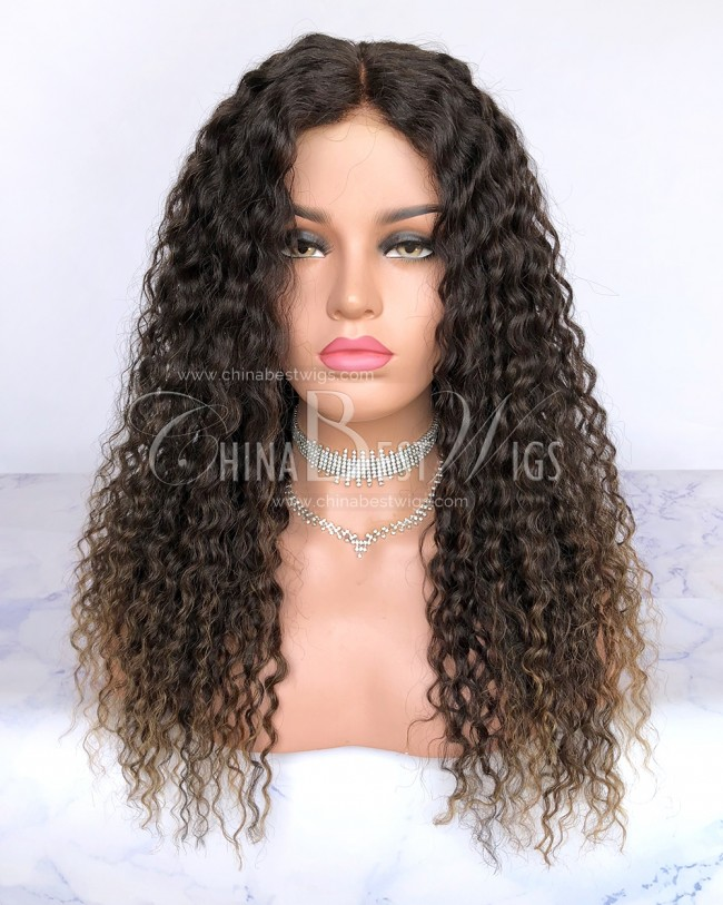 HWS-214 100% Human Hair 20'' Deep Wave Brazilian Lace Front Wigs