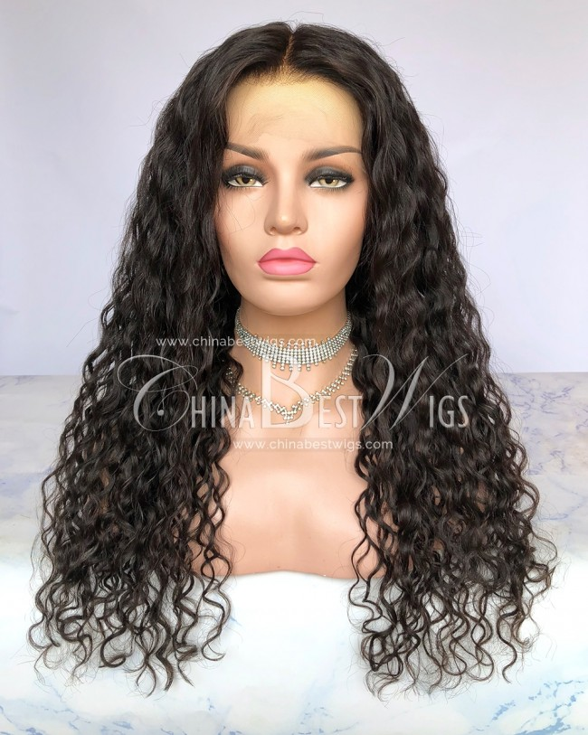 HWS-288  Virgin Human Hair 23mm curl Glueless Lace Front Wigs