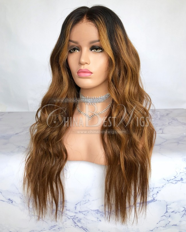 HWS-208 Brazilian virgin Hair 22 inch Wavy Ombre Lace Wigs