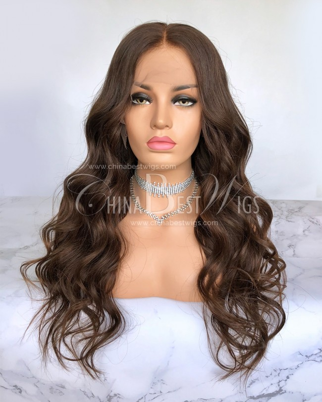 HWS-200  180% Density Color #4 Brazilian virgin Hair 22'' Glueless Lace Front Wig