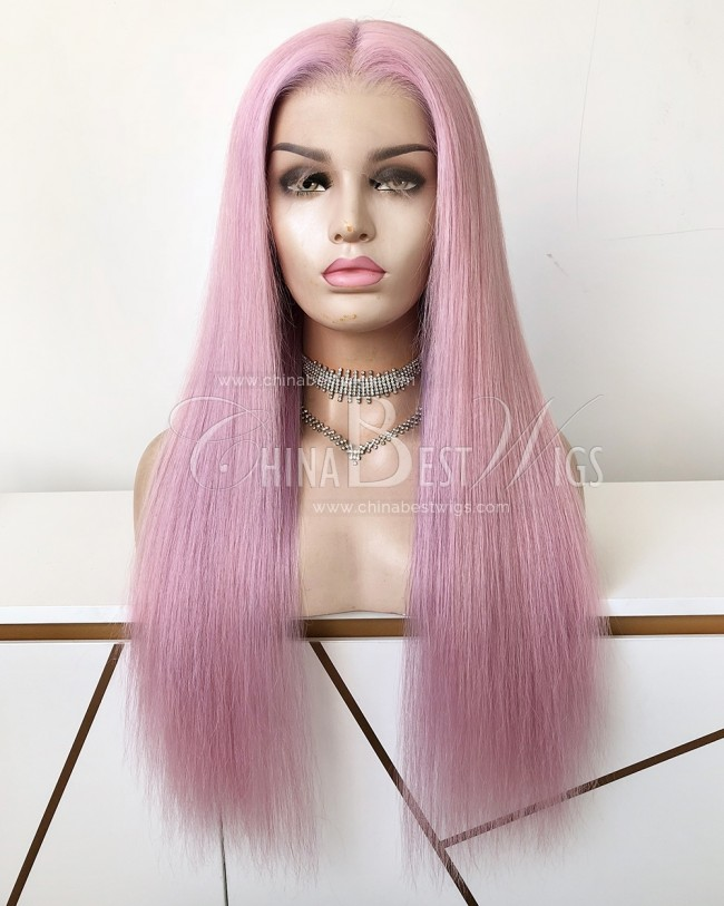 HWS-330  Straight 22 Inch light Pink 150% Density  Glueless Lace Front Wigs
